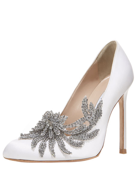 Swan Embellished Satin Pump, White