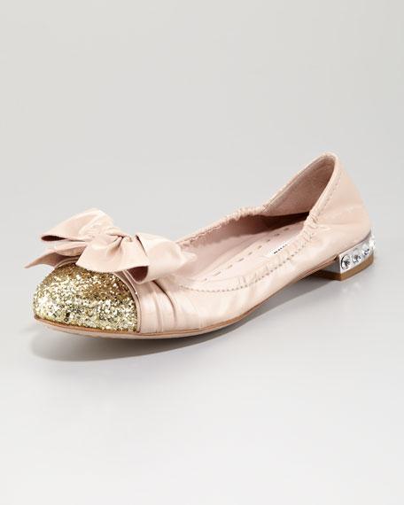 miu miu glitter toe scrunch ballerina. Black Bedroom Furniture Sets. Home Design Ideas
