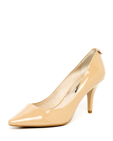 Flex Patent Leather Mid Pump, Nude