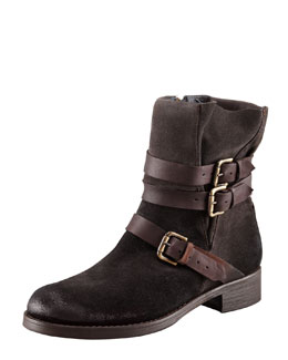 Alberto Fermani Strappy Suede Low Boot