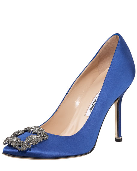 Manolo Blahnik Hangisi 105mm Satin Pump, Cobalt Blue