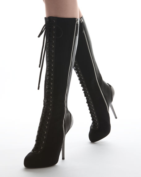 Laced Double-Zipper Tall Boot