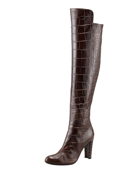 Vigor Croc-Embossed Knee Boot