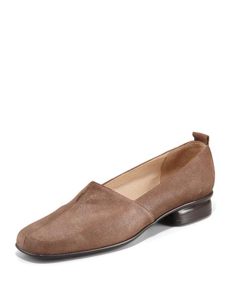 Edwidge Gored Shiny Nubuck Leather Slip-On