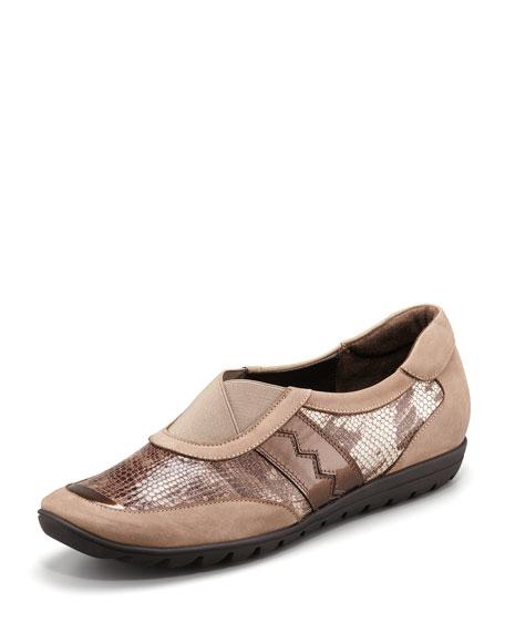 Jaymee Snake-Embossed Gored Sneaker