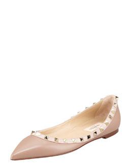 Valentino Rockstud Leather Ballerina Flat