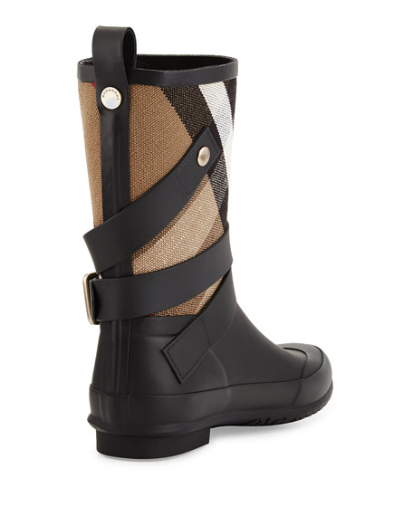Holloway Check Canvas Short Rain Boot