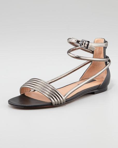 Georgie Metallic-Tubed Flat Sandal