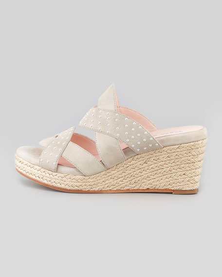 Karena Suede-Studded Espadrille Wedge, Taupe