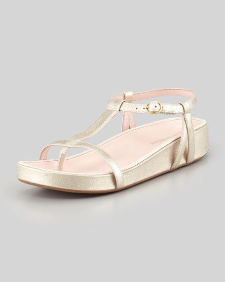 Amor Metallic Footbed Thong Sandal, Soft Gold