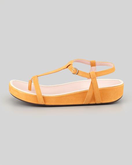 Amor Nubuck Footbed Thong Sandal, Fanta