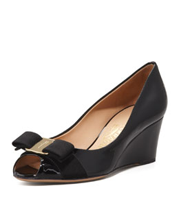 Salvatore Ferragamo Sissi Vara Mid-Wedge Pump, Black