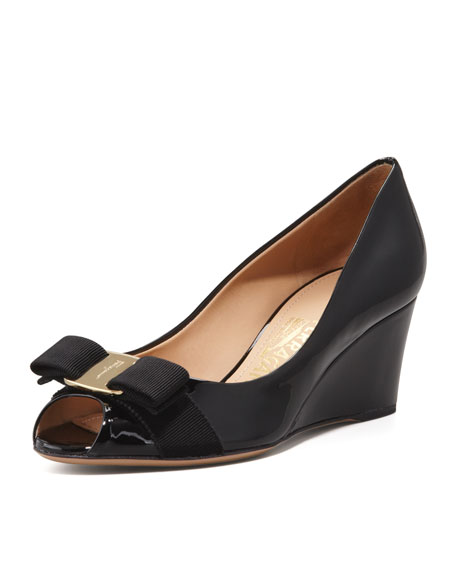 top quality for sale Salvatore Ferragamo Leather Peep-Toe Wedges prices cheap online sale online cheap sale footaction outlet cheap price v1kMYz