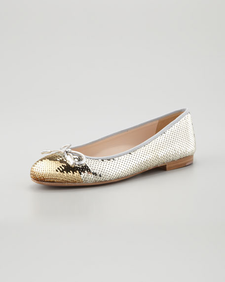 Bicolor Sequined Cap-Toe Ballerina Flat