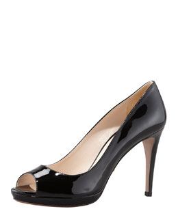 Prada Patent Peep-Toe Pump, Black
