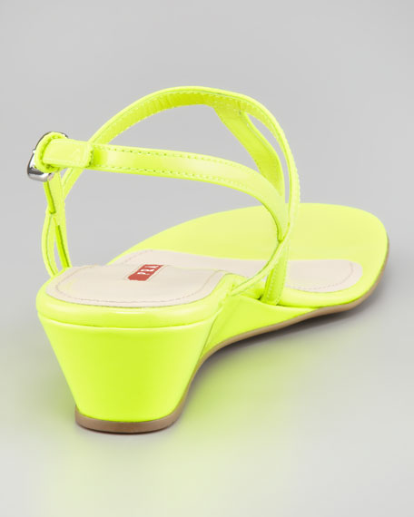 Patent Halter Demi Wedge Sandal, Neon Yellow