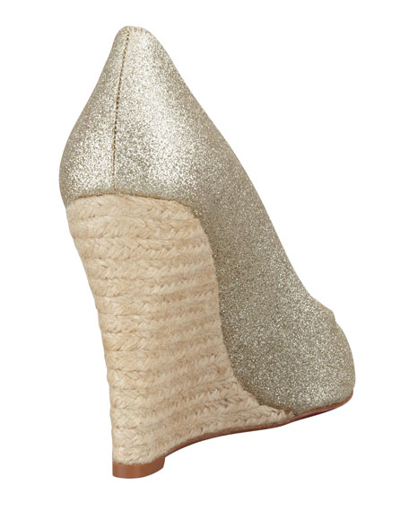 Puglia Glitter Red Sole Espadrille Wedge