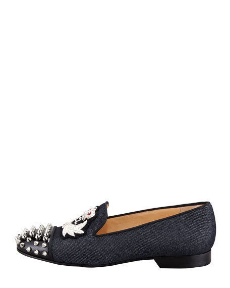 Intern Spiked Cap-Toe Denim Red Sole Loafer