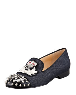 Christian Louboutin Intern Spiked Cap-Toe Denim Red Sole Loafer
