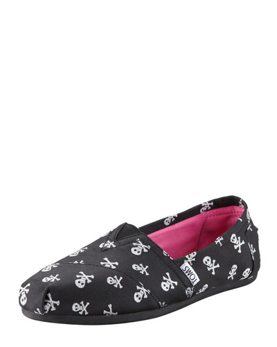 TOMS Sparkle Skulls Slip-On, Black