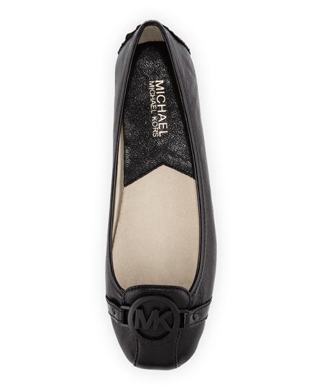Fulton Leather Logo Moccasin, Black