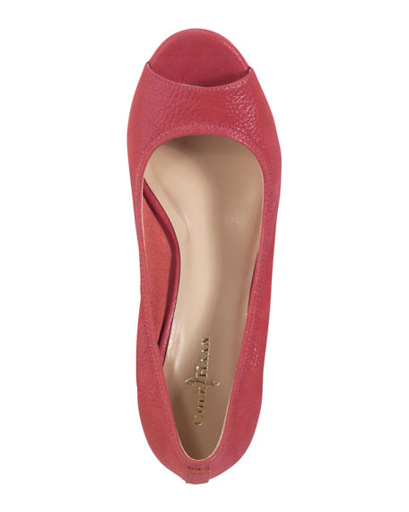 Air Tali Peep-Toe Wedge, Cherry Tomato