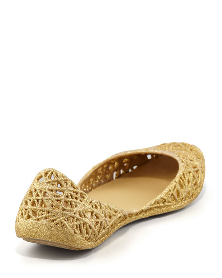 Melissa + Campana Papel III Glitter Jelly Flats, Gold
