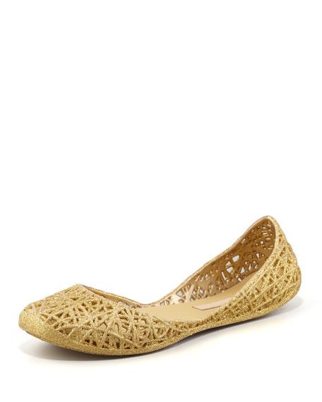 presenting meet order online Melissa + Campana Papel III Glitter Jelly Flats Gold