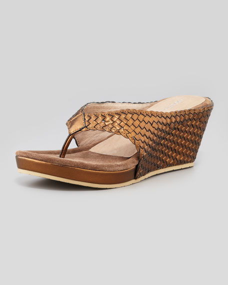 Gilles Metallic Woven Thong Wedge Sandal, Bronze