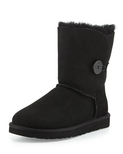 UGG Australia Monogrammed Bailey Button Short Boot, Black