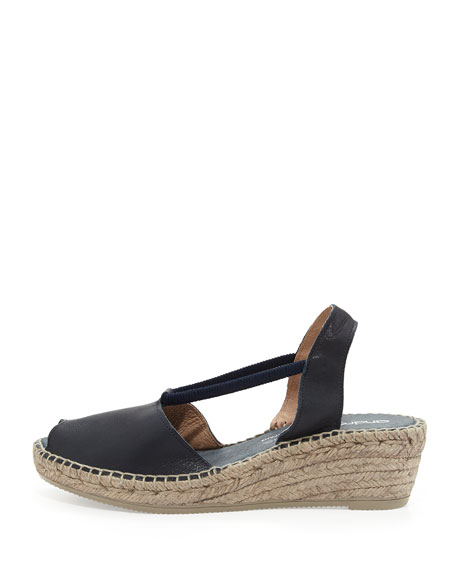 Dainty Leather Slip-On Espadrille Wedge, Navy