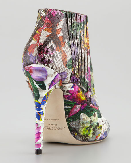 Bolt Painted Python Peep-Toe Bootie