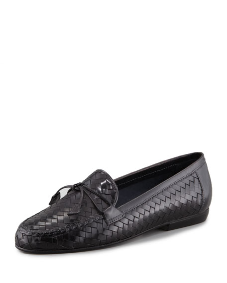 Sesto MeucciNancy Woven Leather Tassel Flat Loafer, Black