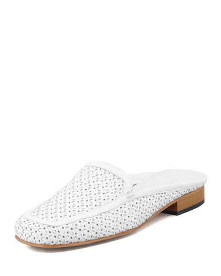 Myrtisa Woven Leather Slip-On Mule, White