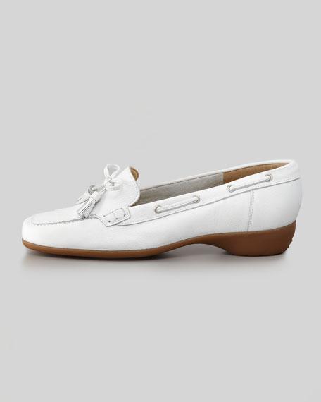 Echo Rubber-Heel Tassel Loafer, White