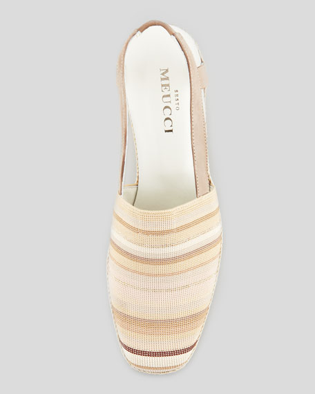 Mona Striped Crochet Espadrille, Beige
