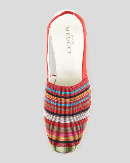 Mona Striped Crochet Espadrille, Red