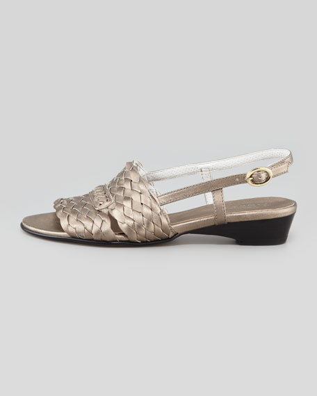 Guenna Woven Slingback Sandal, Pewter