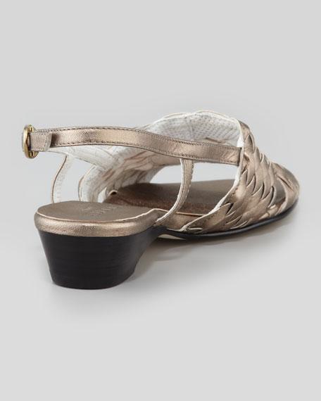 Guenna Woven Slingback Sandal, Pewter