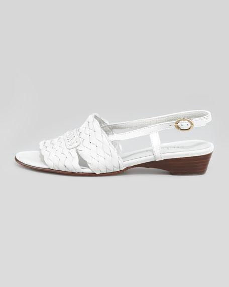 Guenna Woven Slingback Sandal, White