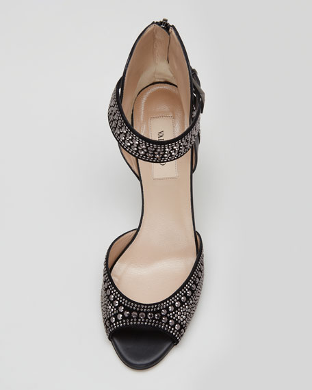 Microstudded Ankle-Wrap Sandal, Black