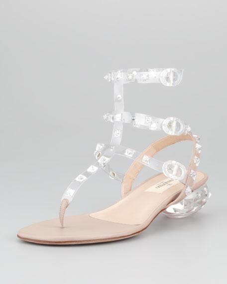 Rockstud Naked Ankle-Wrap Sandal, Poudre