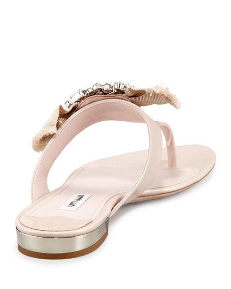 Patent Ornament Bow Flat Thong Sandal