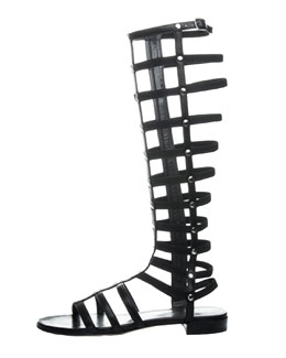 Stuart Weitzman Gladiator Tall Leather Sandal, Black (Made to Order)