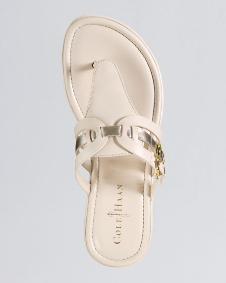 Melissa Buckled Thong Sandal, Ivory/Gold