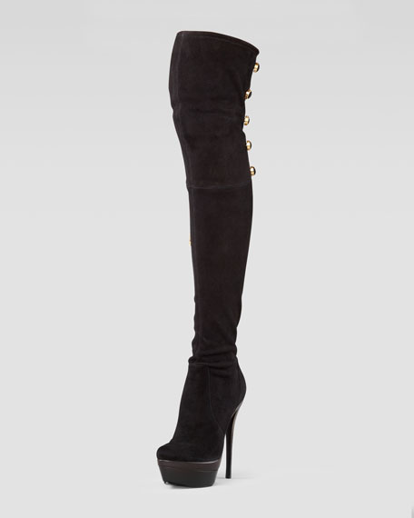 zoe stretch suede the knee boot