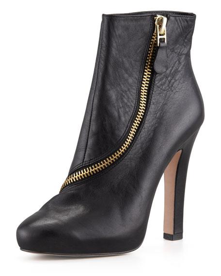 Diane von Furstenberg Candy Zip-Trim Leather Bootie