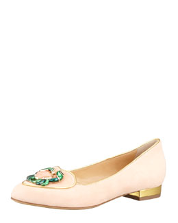 Charlotte Olympia Birthday Cancer Zodiac Smoking Slipper, Light Pink