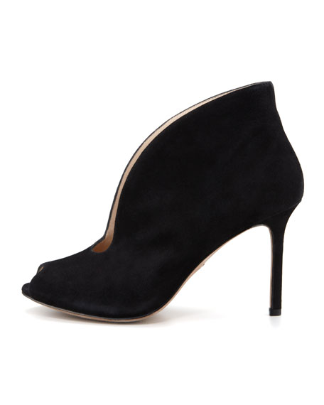 Ronan Suede Peep-Toe Shoe Bootie, Black
