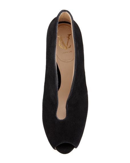 VC Signature Ronan Suede Peep-Toe Shoe Bootie, Black